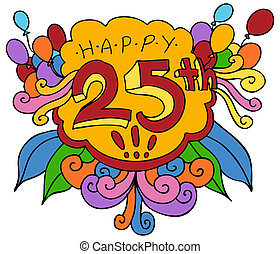 Happy 25th Design Element - An image of a Happy 25th design...