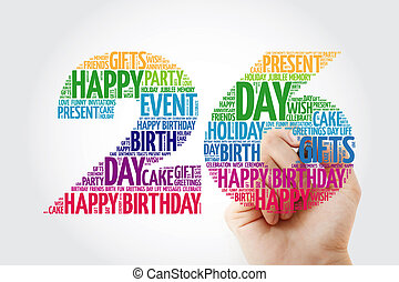 Happy 26th birthday word cloud collage