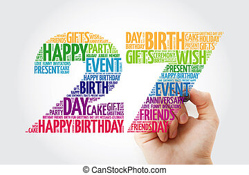 Happy 27th birthday word cloud collage