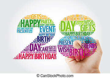 Happy 28th birthday word cloud collage