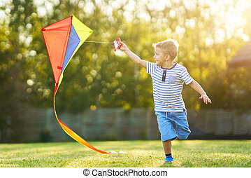Happy 3 year old boy having fun playing with kite