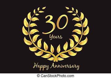 Happy 30th anniversary gold wreath laurel
