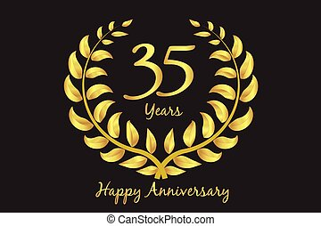 Happy 35th anniversary gold wreath laurel