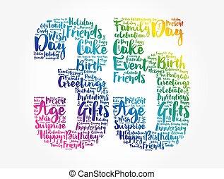 Happy 35th birthday word cloud