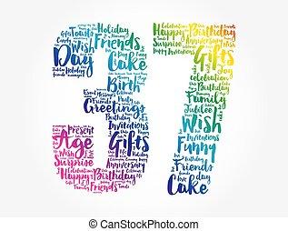 Happy 37th birthday word cloud