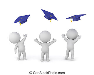 Happy 3D Characters with Graduation Hats