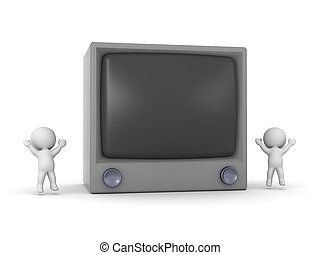 Happy 3D Characters with Large Tube TV