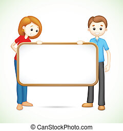 Happy 3d Couple in Vector holding Placard - illustration of...