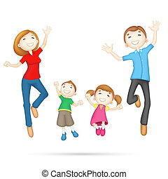 Happy 3d Family - illustration of 3d jumping family in...