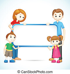 Happy 3d Family in Vector holding Placard - illustration of...