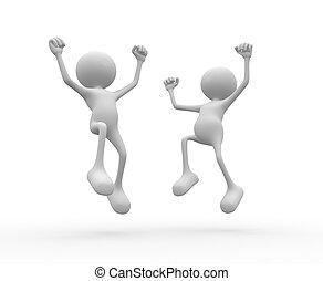 Happy - 3d people - man, person happy. Success