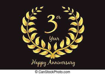 Happy 3rd anniversary gold wreath laurel