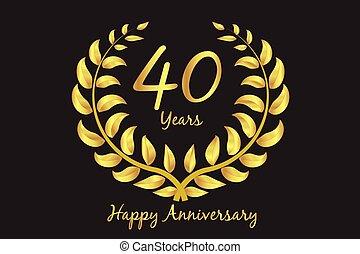 Happy 40th anniversary gold wreath laurel