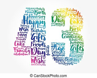 Happy 43rd birthday word cloud