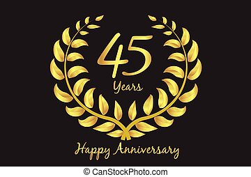Happy 45th anniversary gold wreath laurel
