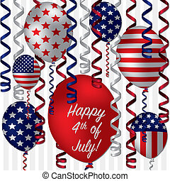 Happy 4th of July patterned balloon card in vector format.