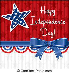 Happy 4th July! - Ribbon Happy Independence Day card in ...