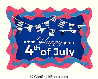 Happy 4th of July Abstract illustration with paper cut...