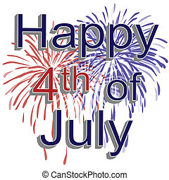 Graphic illustration of red, white, and blue fireworks with 3d text happy 4th of july on a white background.