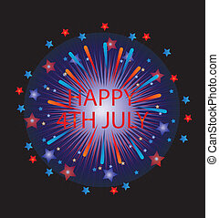 Happy 4th of July Fireworks vector stock