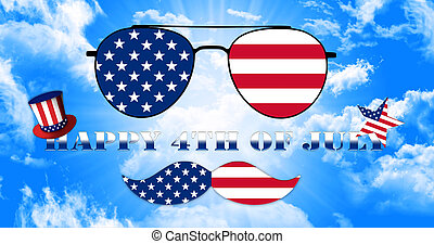 6d07fed62698f0 Happy 4th of July. Glasses and Mustache Design of the American Flag With  Hat of