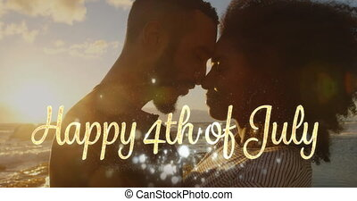 Happy 4th of July greeting and a couple by the beach 4k