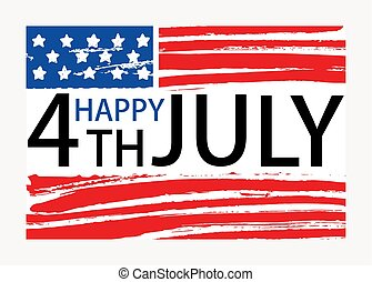 Happy 4th of July inscription written on American national flag. United States of America Independence Day lettering isolated on white background. Colored hand drawn holiday vector illustration