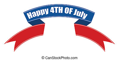 happy 4th of july ribbon banner Vector Illustration