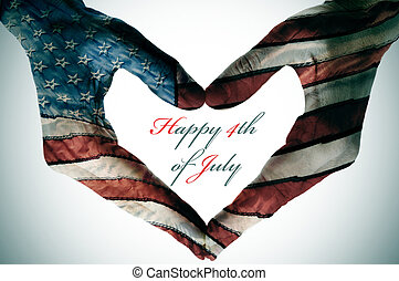 happy 4th of july - man hands patterned with the flag of the...