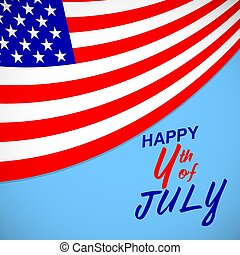 Happy 4th of July. USA independence day background with american flag and lettering. Vector EPS 10.