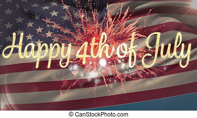 Happy 4th of July with flag and fireworks