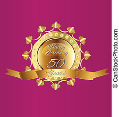 Happy 50 Birthday gold design