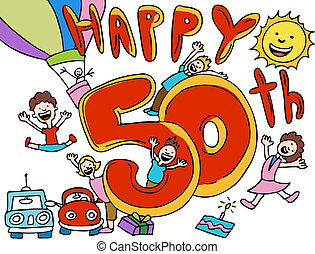 happy 50th anniversary cartoon vector illustration image...