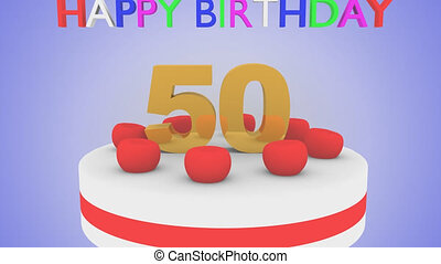Happy 50th birthday cake animation