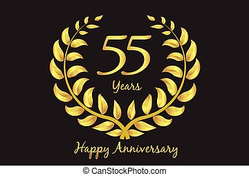 Happy 55th anniversary gold wreath laurel