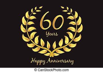 Happy 60th anniversary gold wreath laurel