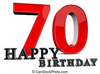 Happy 70th Birthday - Large red 70 with Happy Birthday in...