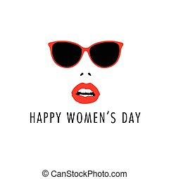 happy 8 march with woman face icon color illustration