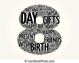 Happy 8th birthday word cloud