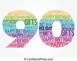 Happy 90th birthday word cloud collage concept