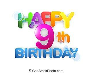 Happy 9th Birthday Title, light