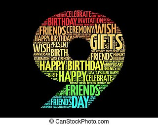 Happy 9th birthday word cloud