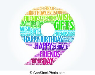 Happy 9th birthday word cloud collage concept
