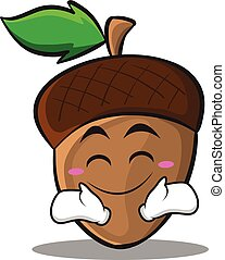 Happy acorn cartoon character style