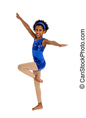 Happy African American Acrobatic Dance Student in Blue Recital Costume