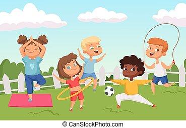 Happy active kids characters. Summer outdoor activity - childhood vector background