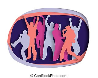 Happy active party people cutout silhouette