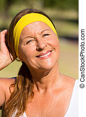 Happy active senior woman portrait