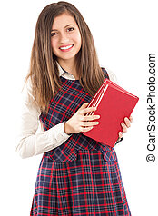 Happy adorable student holding a pile of books
