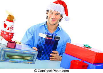 Happy Adult Wearing Santa Hat With So Many Gift